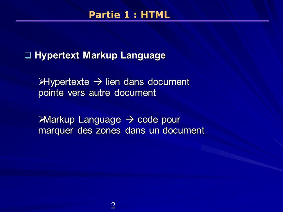 Principes du HTML (1) Fonctionne sous la base de la balise (ou tag).