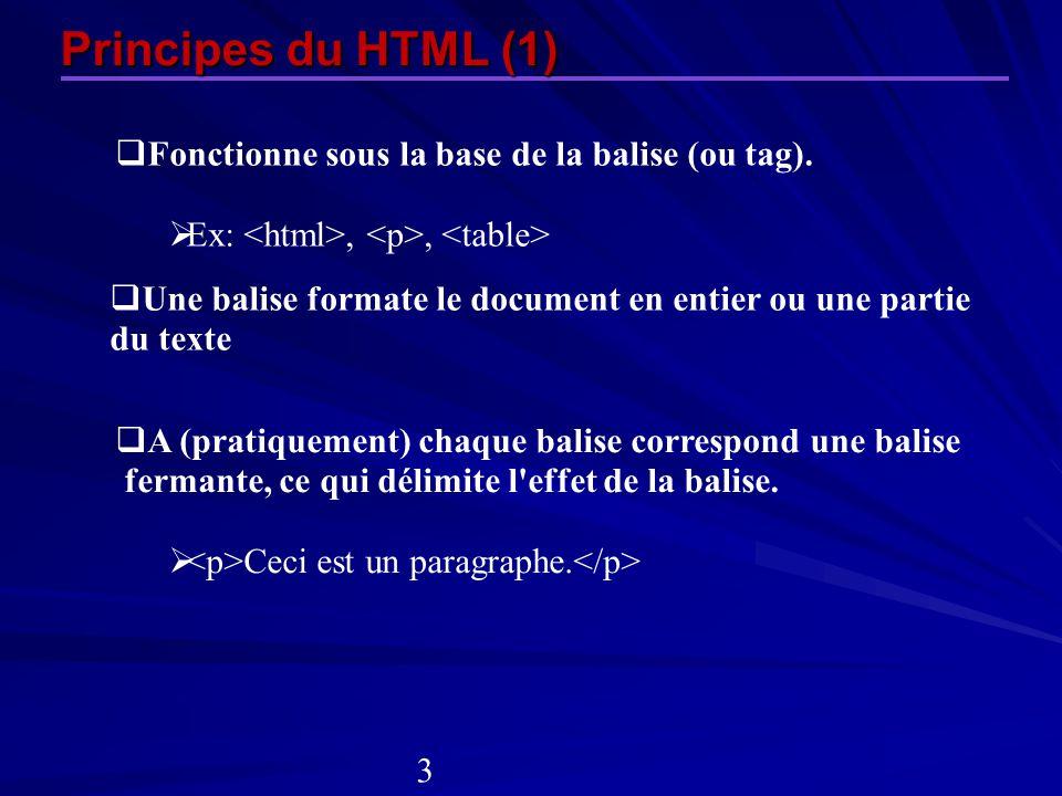 Principes du HTML (1) Fonctionne sous la base de la balise (ou tag). Ex:,, Une balise formate le document en entier ou une partie du texte A (pratique
