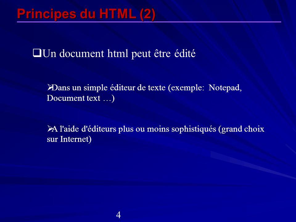 Principes du HTML (2) Un document html peut être édité Dans un simple éditeur de texte (exemple: Notepad, Document text …) A l'aide d'éditeurs plus ou