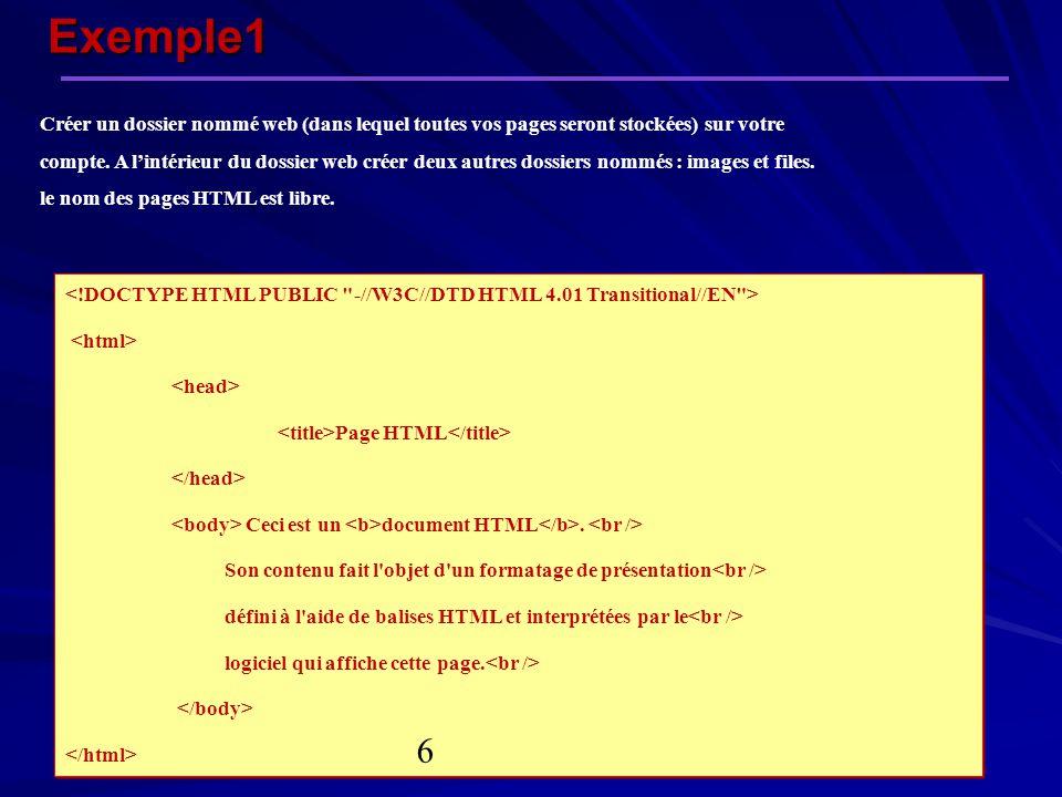 Exemple1 Page HTML Ceci est un document HTML. Son contenu fait l'objet d'un formatage de présentation défini à l'aide de balises HTML et interprétées