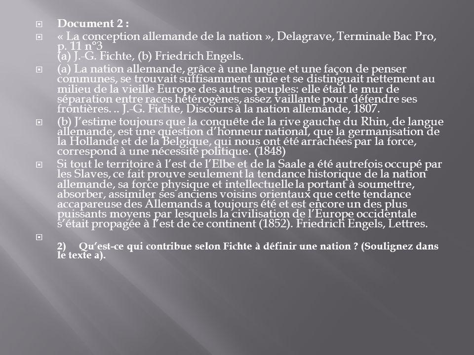 Document 2 : « La conception allemande de la nation », Delagrave, Terminale Bac Pro, p.