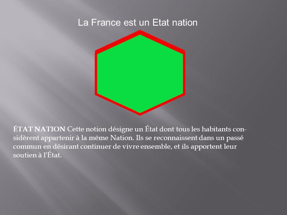 La France est un Etat nation ÉTAT NATION Cette notion désigne un État dont tous les habitants con sidèrent appartenir à la même Nation.