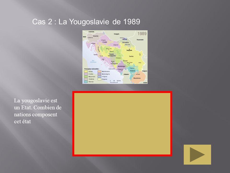 Cas 2 : La Yougoslavie de 1989 La yougoslavie est un Etat. Combien de nations composent cet état