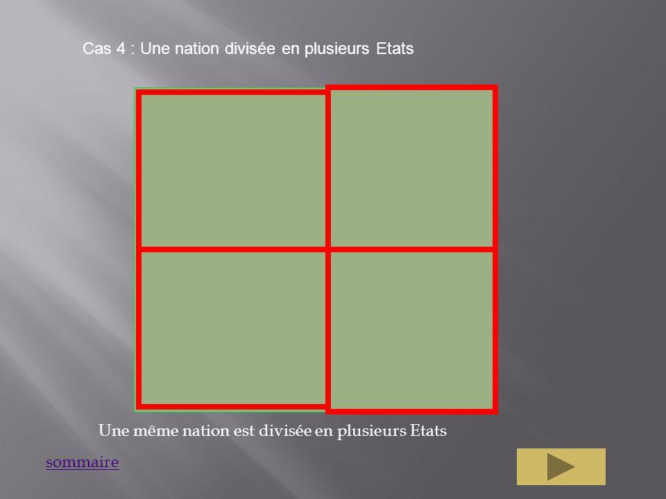 Cas 4 : Une nation divisée en plusieurs Etats Une même nation est divisée en plusieurs Etats sommaire