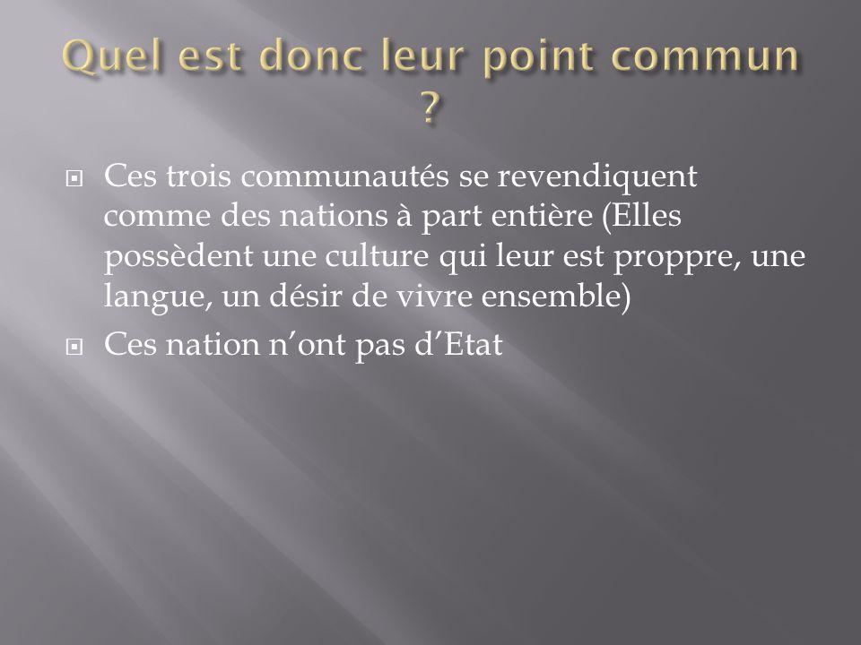 Ces trois communautés se revendiquent comme des nations à part entière (Elles possèdent une culture qui leur est proppre, une langue, un désir de vivre ensemble) Ces nation nont pas dEtat