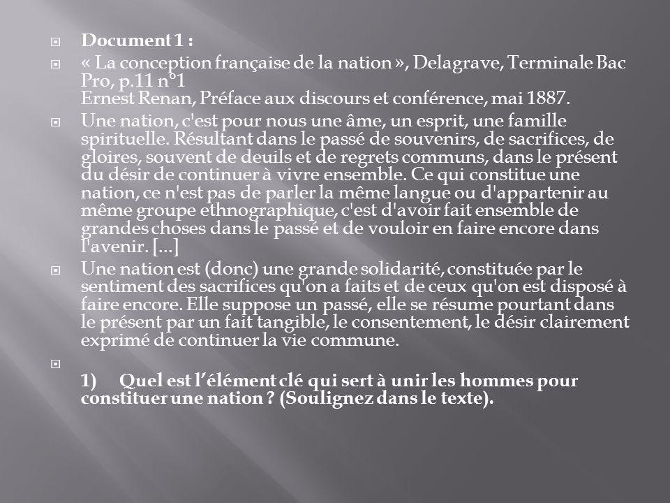 Document 1 : « La conception française de la nation », Delagrave, Terminale Bac Pro, p.11 n°1 Ernest Renan, Préface aux discours et conférence, mai 1887.