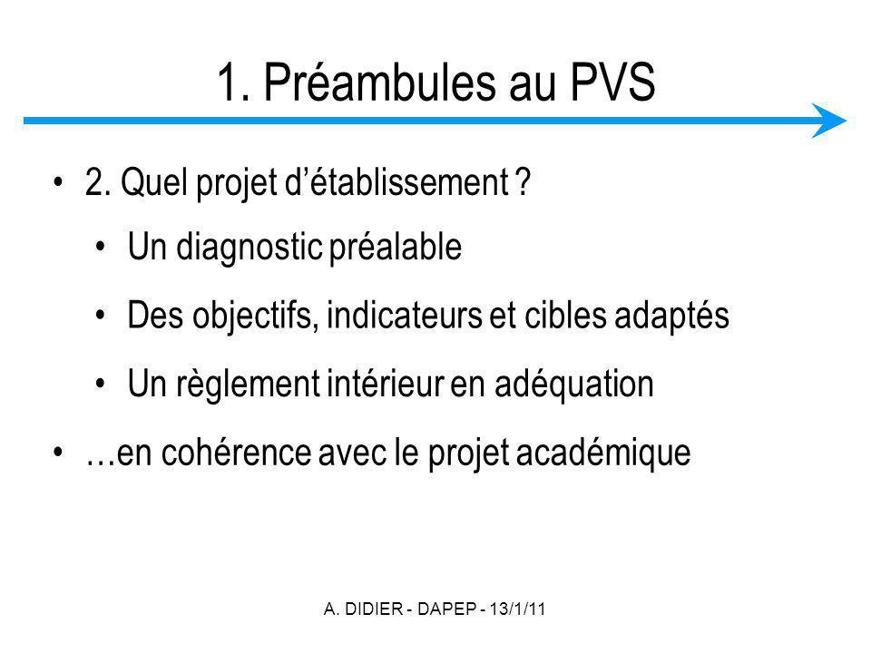 A. DIDIER - DAPEP - 13/1/11 1. Préambules au PVS 2. Quel projet détablissement ? Un diagnostic préalable Des objectifs, indicateurs et cibles adaptés