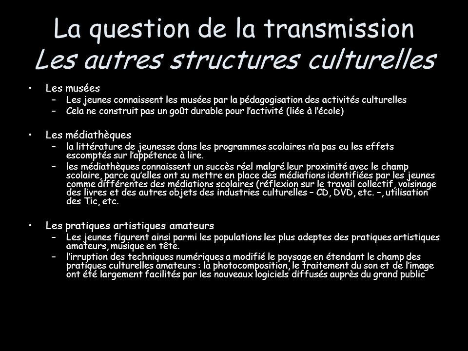 La question de la transmission Les autres structures culturelles Les musées –Les jeunes connaissent les musées par la pédagogisation des activités cul