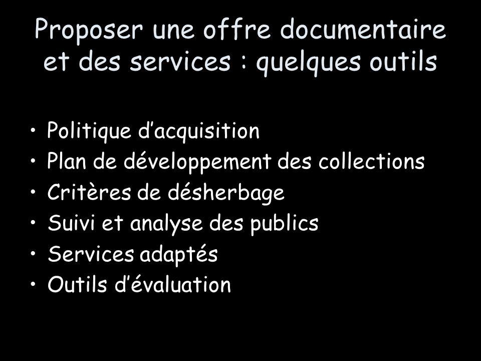 Proposer une offre documentaire et des services : quelques outils Politique dacquisition Plan de développement des collections Critères de désherbage