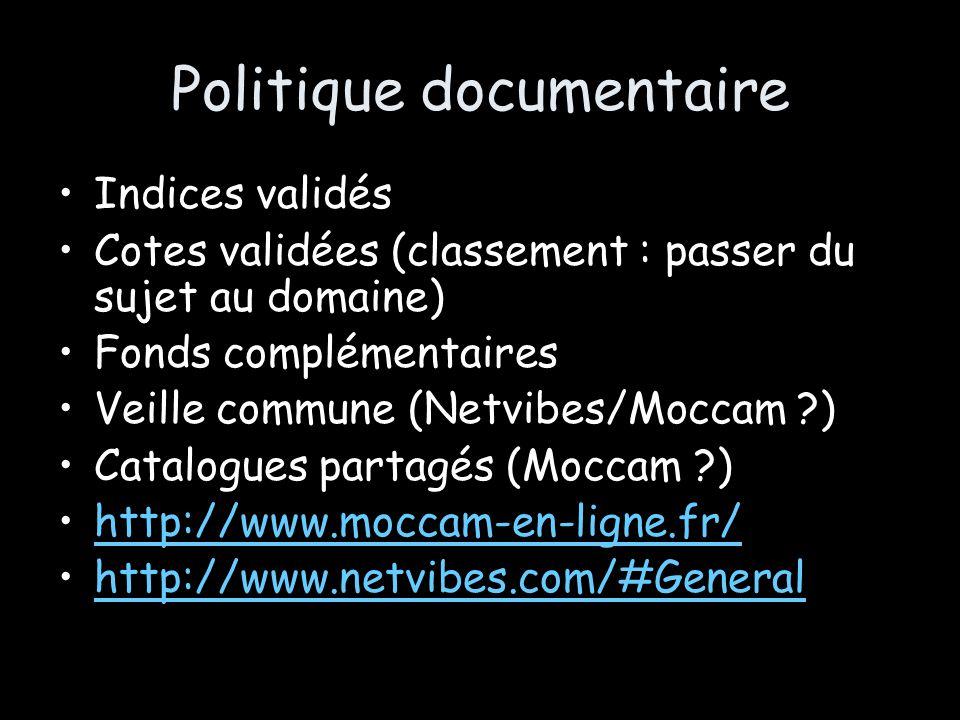 Politique documentaire Indices validés Cotes validées (classement : passer du sujet au domaine) Fonds complémentaires Veille commune (Netvibes/Moccam