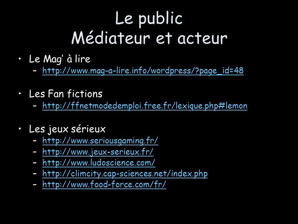 Le public Médiateur et acteur Le Mag à lire –http://www.mag-a-lire.info/wordpress/?page_id=48http://www.mag-a-lire.info/wordpress/?page_id=48 Les Fan