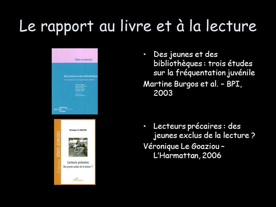 Le rapport au livre et à la lecture Des jeunes et des bibliothèques : trois études sur la fréquentation juvénile Martine Burgos et al. – BPI, 2003 Lec