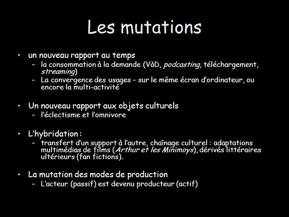 Les mutations un nouveau rapport au temps –la consommation à la demande (VàD, podcasting, téléchargement, streaming) –La convergence des usages – sur