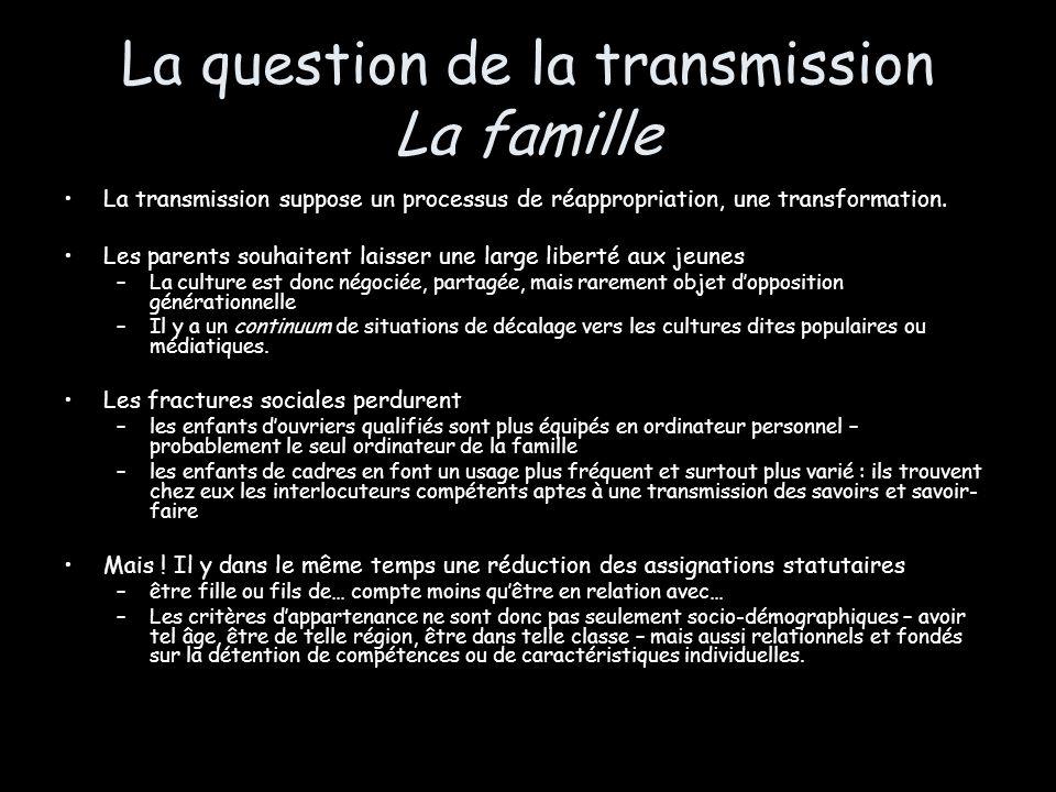 La question de la transmission La famille La transmission suppose un processus de réappropriation, une transformation. Les parents souhaitent laisser
