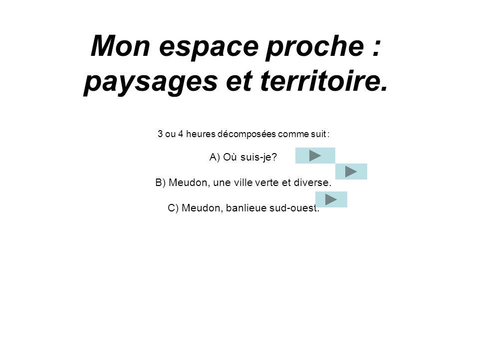 Mon espace proche : paysages et territoire. 3 ou 4 heures décomposées comme suit : A) Où suis-je? B) Meudon, une ville verte et diverse. C) Meudon, ba