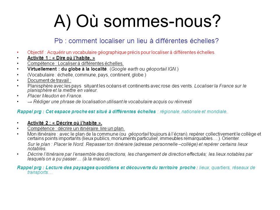 A) Où sommes-nous? Objectif : Acquérir un vocabulaire géographique précis pour localiser à différentes échelles. Activité 1 : « Dire où jhabite. » Com