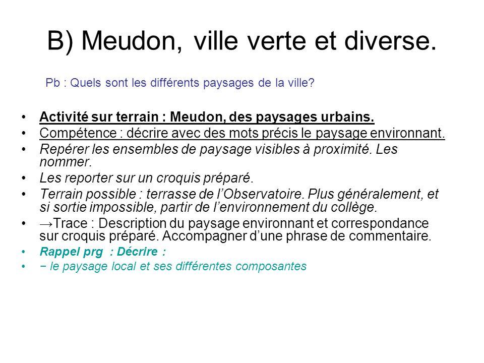 B) Meudon, ville verte et diverse. Activité sur terrain : Meudon, des paysages urbains. Compétence : décrire avec des mots précis le paysage environna