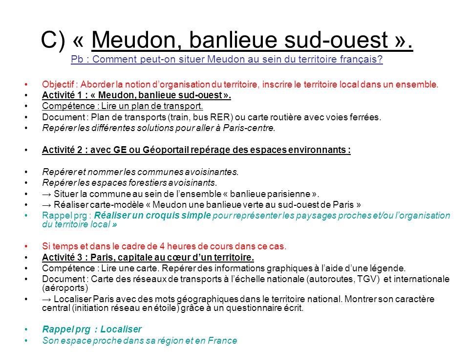 C) « Meudon, banlieue sud-ouest ». Pb : Comment peut-on situer Meudon au sein du territoire français? Objectif : Aborder la notion dorganisation du te