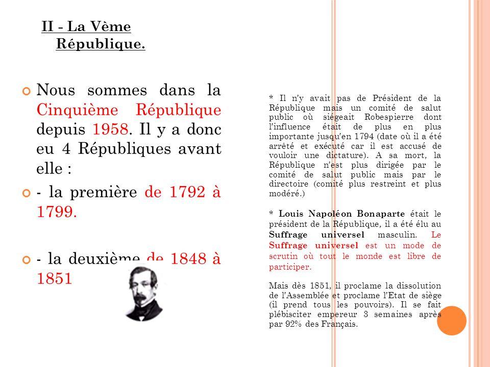 * Il ny avait pas de Président de la République mais un comité de salut public où siégeait Robespierre dont linfluence était de plus en plus importante jusquen 1794 (date où il a été arrêté et exécuté car il est accusé de vouloir une dictature).