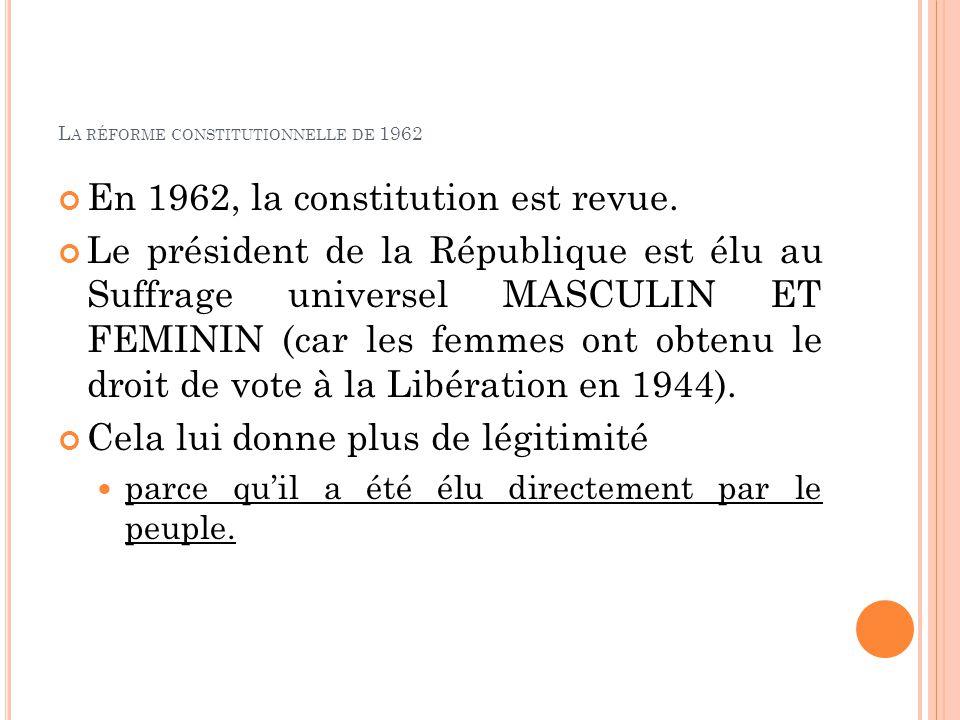 L A RÉFORME CONSTITUTIONNELLE DE 1962 En 1962, la constitution est revue. Le président de la République est élu au Suffrage universel MASCULIN ET FEMI