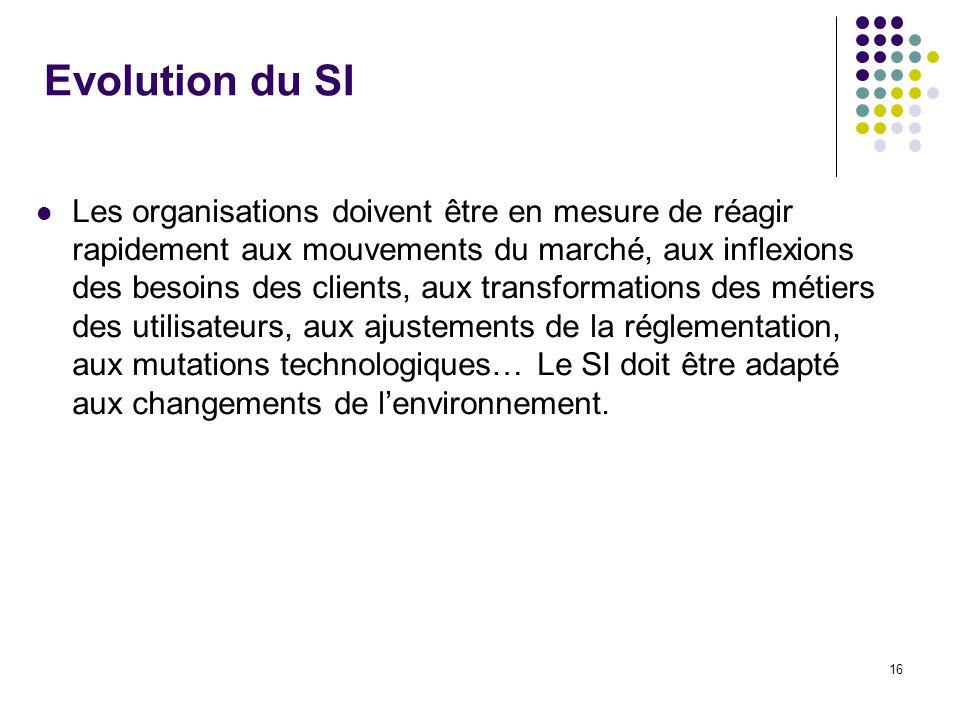 16 Evolution du SI Les organisations doivent être en mesure de réagir rapidement aux mouvements du marché, aux inflexions des besoins des clients, aux