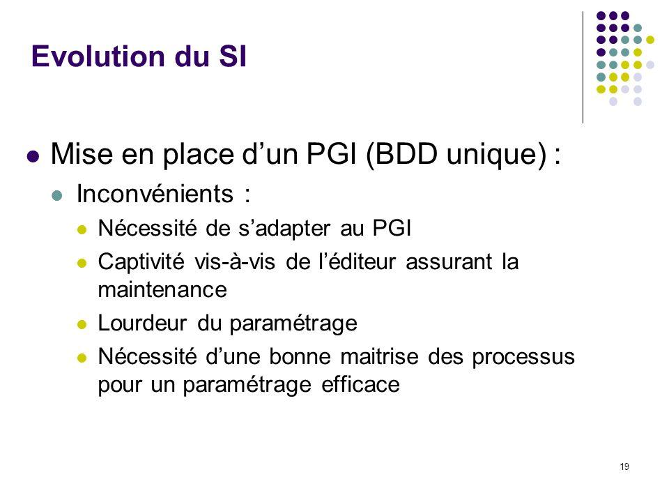 19 Evolution du SI Mise en place dun PGI (BDD unique) : Inconvénients : Nécessité de sadapter au PGI Captivité vis-à-vis de léditeur assurant la maintenance Lourdeur du paramétrage Nécessité dune bonne maitrise des processus pour un paramétrage efficace