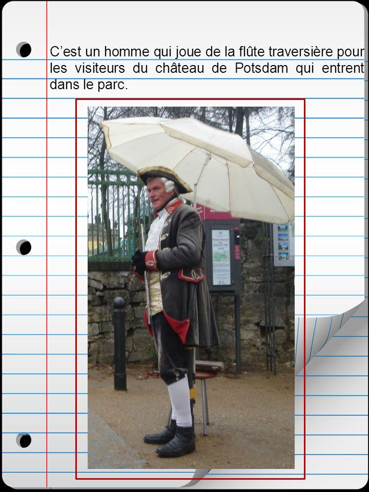 Cest un homme qui joue de la flûte traversière pour les visiteurs du château de Potsdam qui entrent dans le parc.