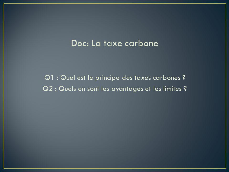 Doc: La taxe carbone Q1 : Quel est le principe des taxes carbones ? Q2 : Quels en sont les avantages et les limites ?