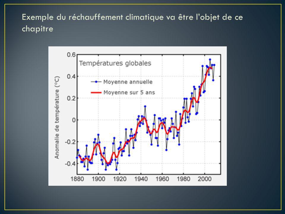 Exemple du réchauffement climatique va être lobjet de ce chapitre