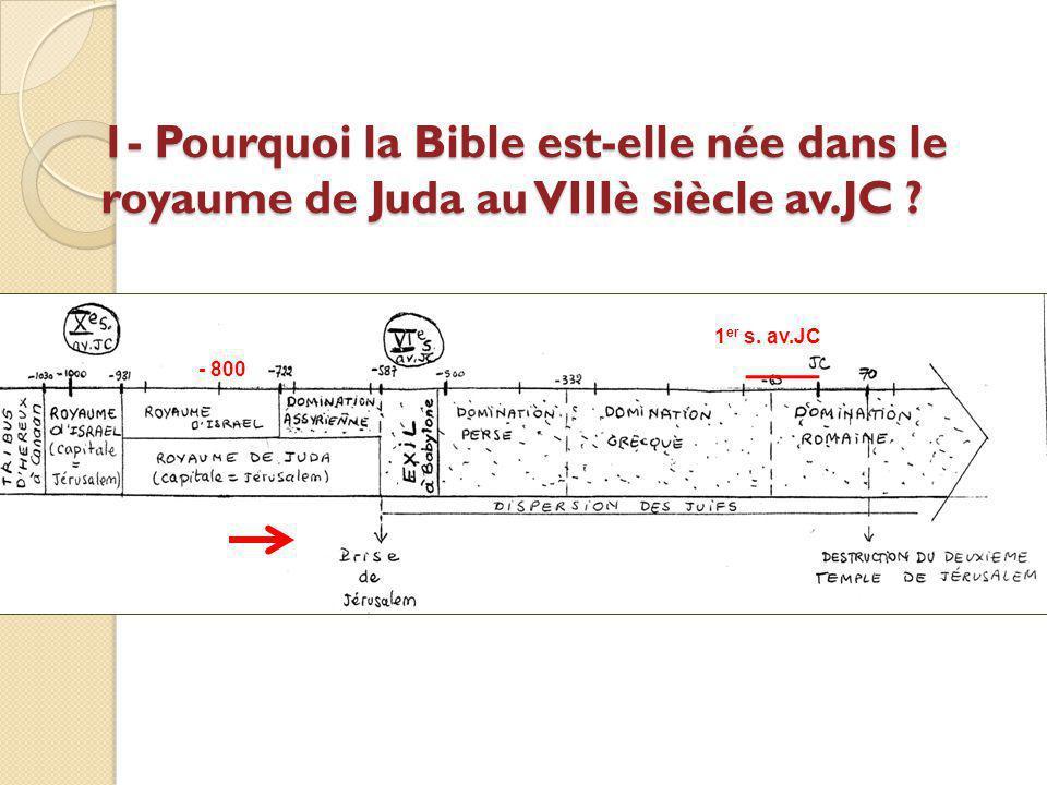 1- Pourquoi la Bible est-elle née dans le royaume de Juda au VIIIè siècle av.JC ? - 800 1 er s. av.JC