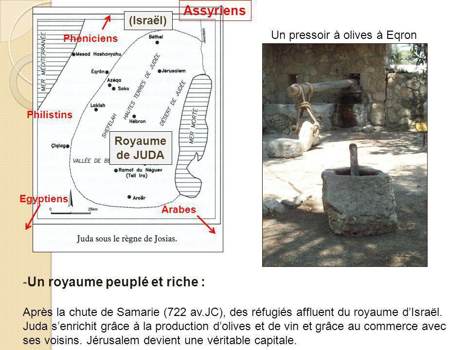 Philistins Egyptiens Assyriens Phéniciens Arabes (Israël) Royaume de JUDA Un pressoir à olives à Eqron -Un royaume peuplé et riche : Après la chute de