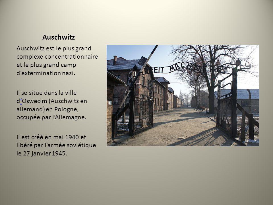 Auschwitz Auschwitz est le plus grand complexe concentrationnaire et le plus grand camp dextermination nazi. Il se situe dans la ville dOswecim (Ausch