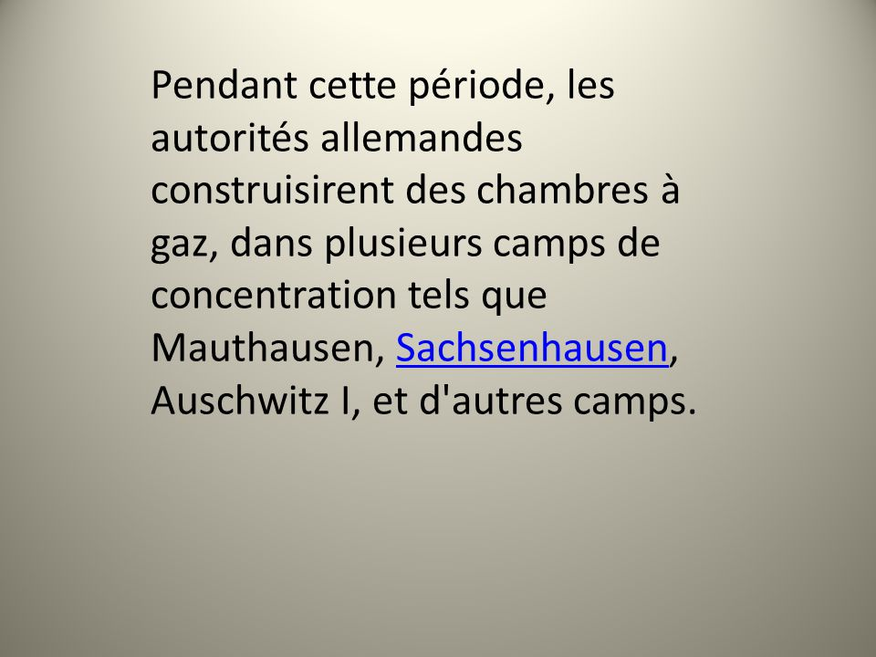 Les camps dextermination La plupart des historiens estiment que «la solution finale à la question juive» fut officiellement lancée le 20 janvier 1942 lors de la conférence de Wannsee près de Berlin.