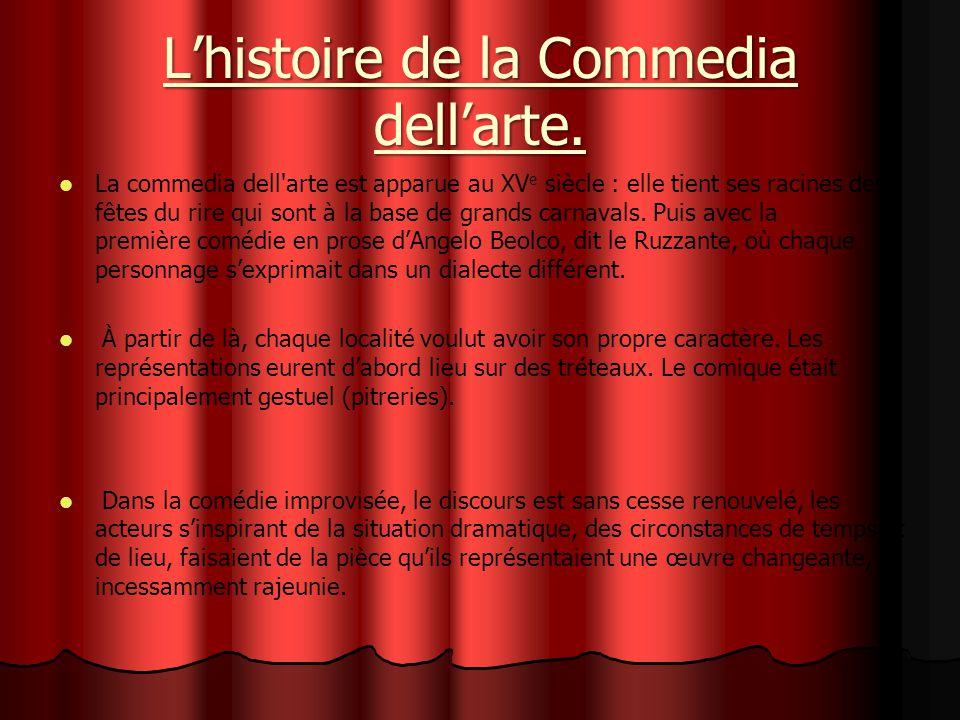 Lhistoire de la Commedia dellarte. La commedia dell'arte est apparue au XV e siècle : elle tient ses racines des fêtes du rire qui sont à la base de g
