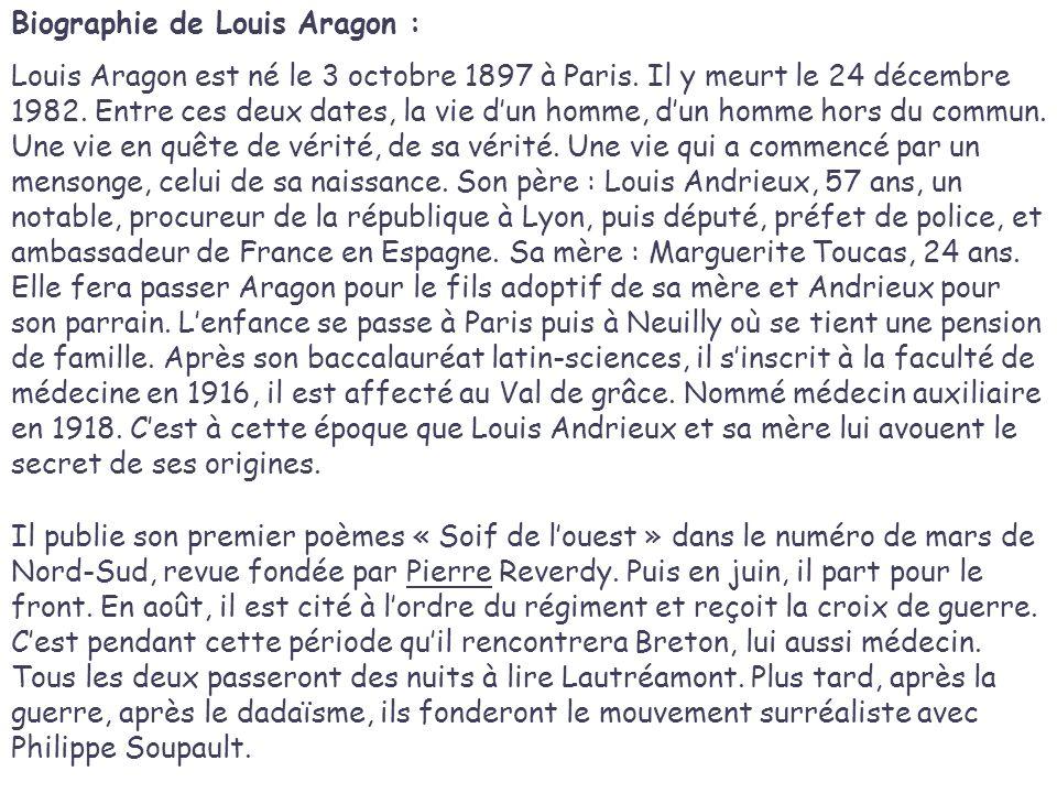 Biographie de Louis Aragon : Louis Aragon est né le 3 octobre 1897 à Paris.