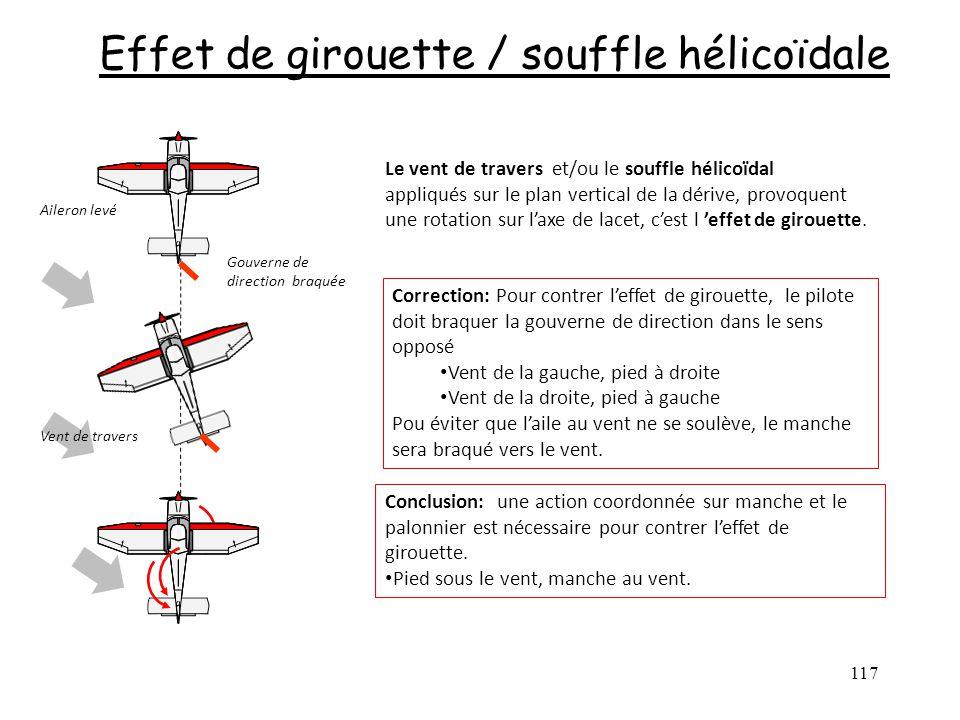 117 Effet de girouette / souffle hélicoïdale Le vent de travers et/ou le souffle hélicoïdal appliqués sur le plan vertical de la dérive, provoquent un