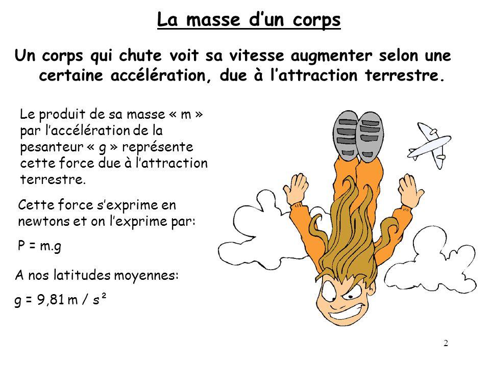 2 La masse dun corps Un corps qui chute voit sa vitesse augmenter selon une certaine accélération, due à lattraction terrestre. Le produit de sa masse