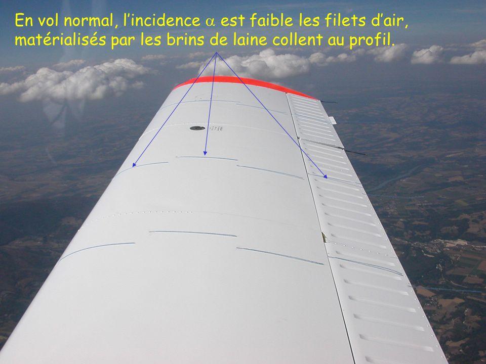 37 En vol normal, lincidence est faible les filets dair, matérialisés par les brins de laine collent au profil.