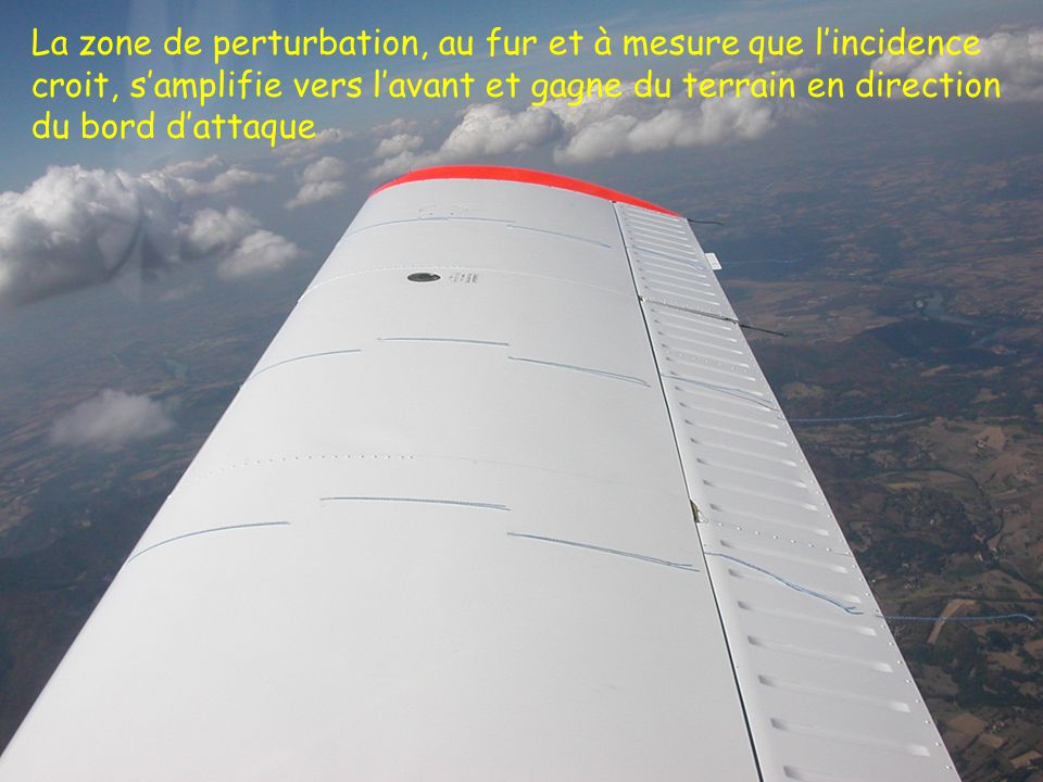 39 La zone de perturbation, au fur et à mesure que lincidence croit, samplifie vers lavant et gagne du terrain en direction du bord dattaque