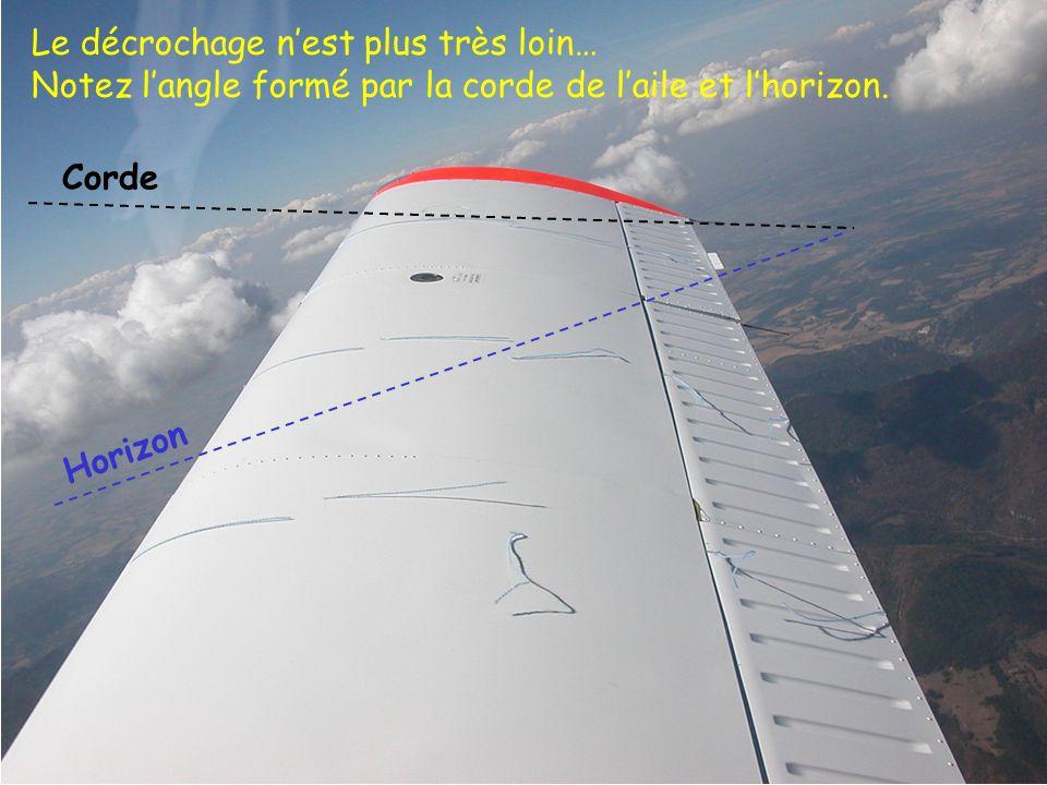 43 Le décrochage nest plus très loin… Notez langle formé par la corde de laile et lhorizon. Horizon Corde