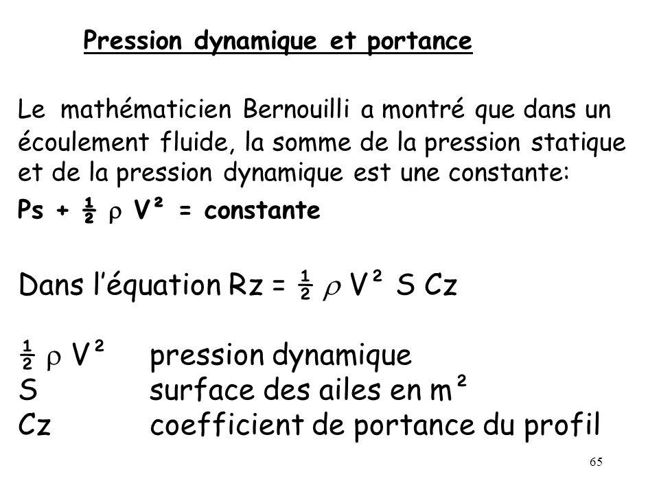 65 Pression dynamique et portance Le mathématicien Bernouilli a montré que dans un écoulement fluide, la somme de la pression statique et de la pressi