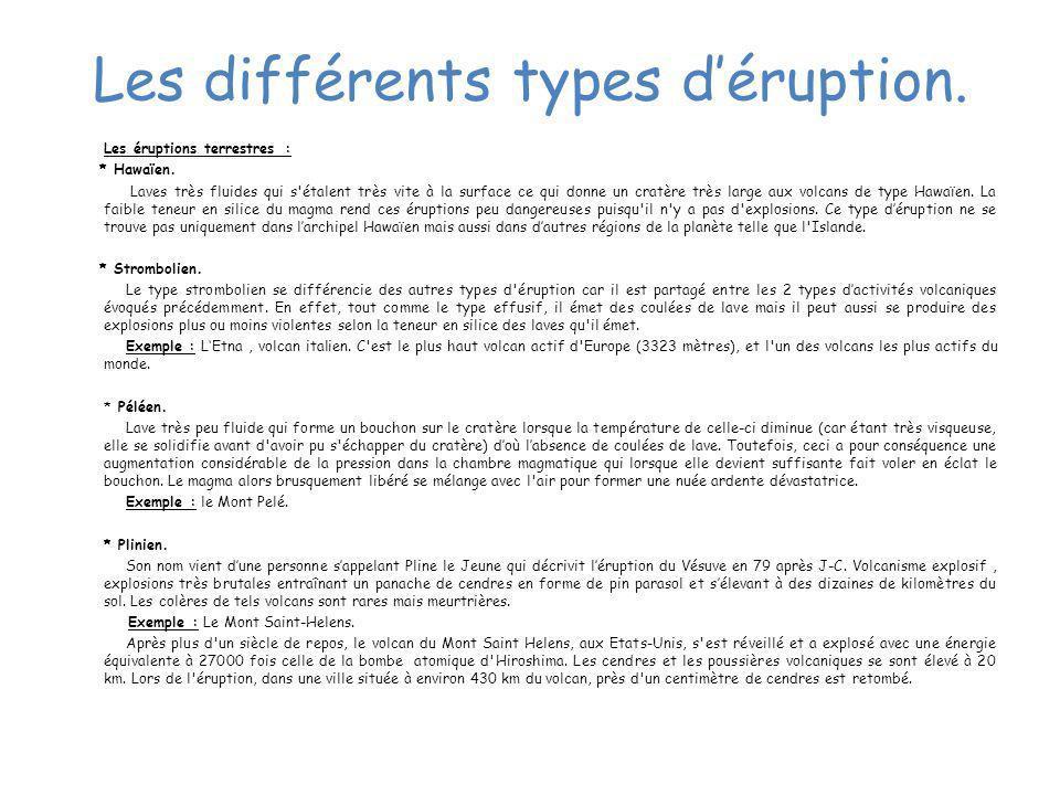 Les différents types déruption. Les éruptions terrestres : * Hawaïen. Laves très fluides qui s'étalent très vite à la surface ce qui donne un cratère