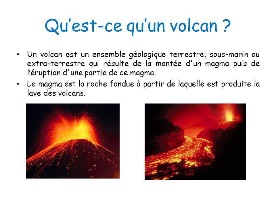 Quest-ce quun volcan ? Un volcan est un ensemble géologique terrestre, sous-marin ou extra-terrestre qui résulte de la montée d'un magma puis de lérup