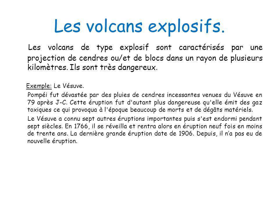 Les volcans explosifs. Les volcans de type explosif sont caractérisés par une projection de cendres ou/et de blocs dans un rayon de plusieurs kilomètr