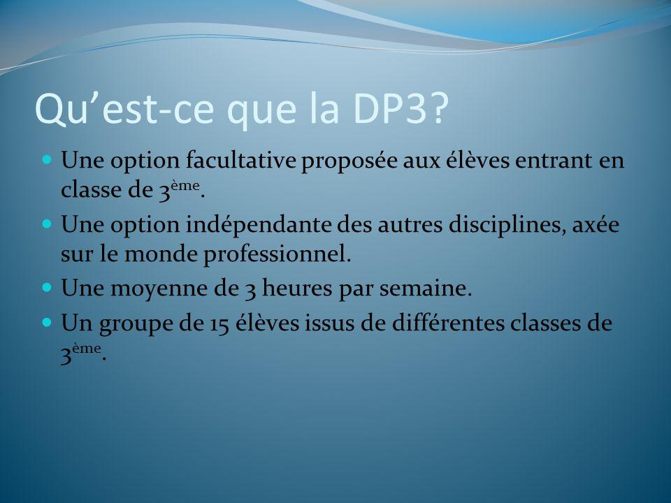 Quest-ce que la DP3? Une option facultative proposée aux élèves entrant en classe de 3 ème. Une option indépendante des autres disciplines, axée sur l