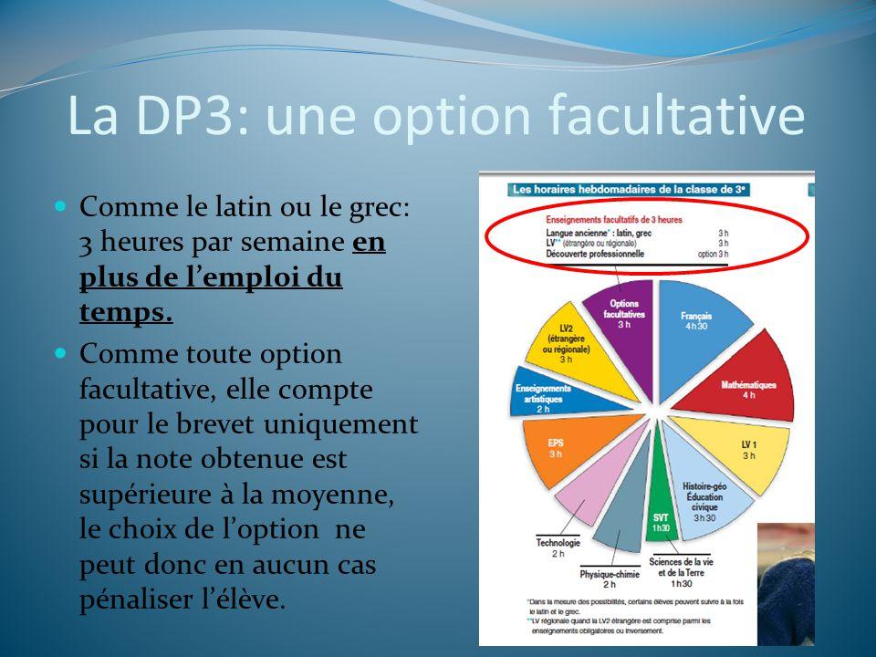 La DP3: une option facultative Comme le latin ou le grec: 3 heures par semaine en plus de lemploi du temps. Comme toute option facultative, elle compt