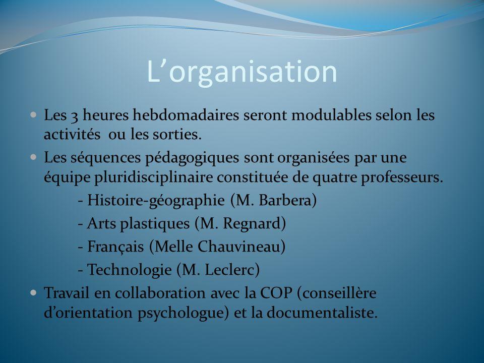 Lorganisation Les 3 heures hebdomadaires seront modulables selon les activités ou les sorties. Les séquences pédagogiques sont organisées par une équi
