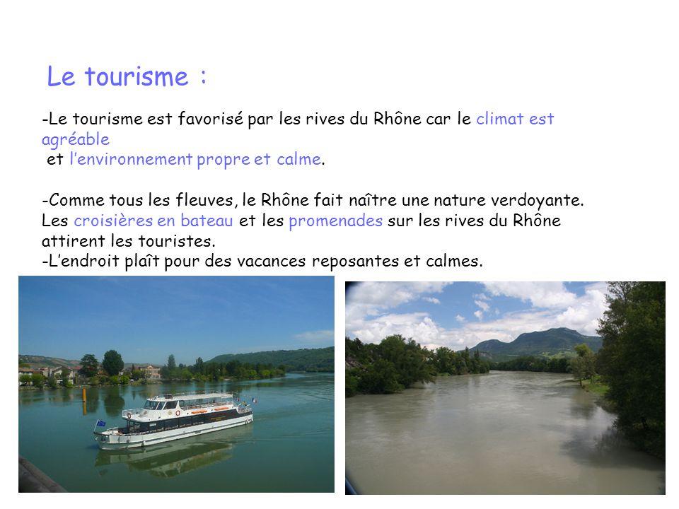 Le tourisme : -Le tourisme est favorisé par les rives du Rhône car le climat est agréable et lenvironnement propre et calme. -Comme tous les fleuves,