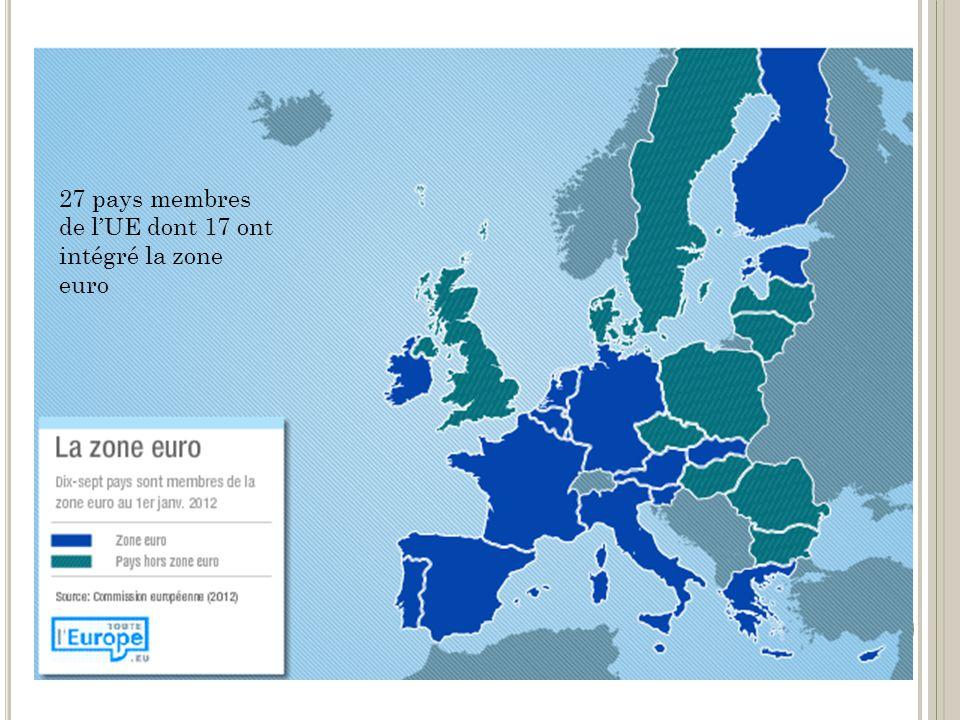 27 pays membres de lUE dont 17 ont intégré la zone euro