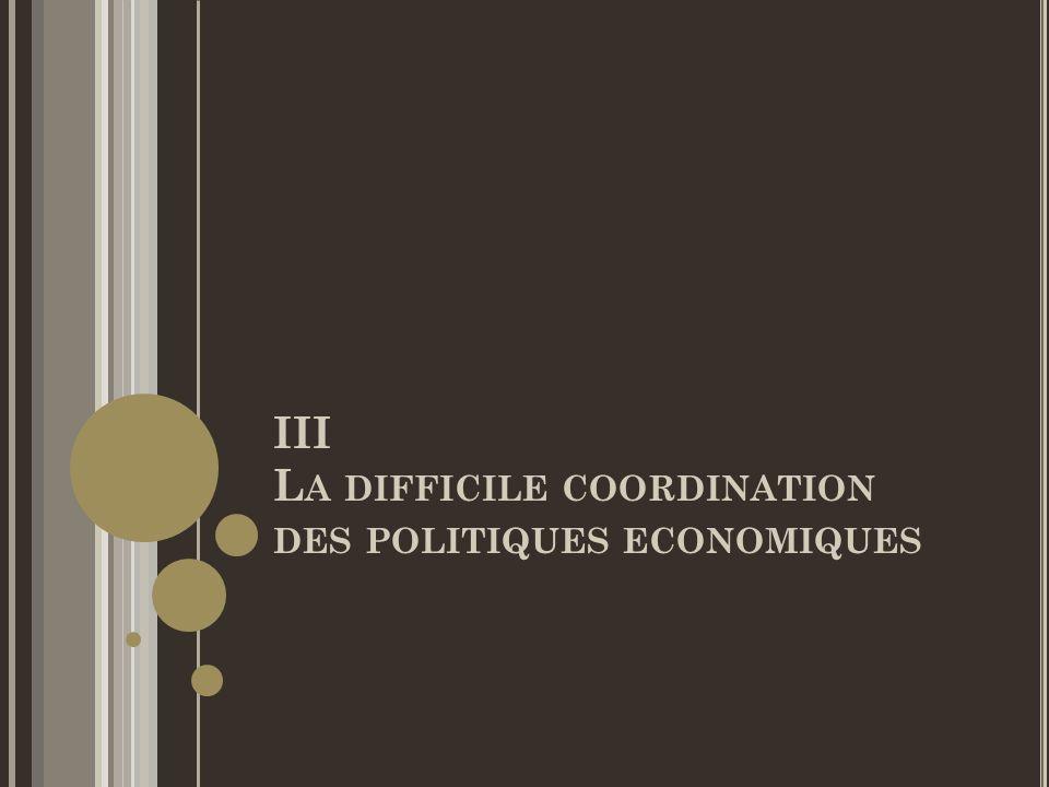 III L A DIFFICILE COORDINATION DES POLITIQUES ECONOMIQUES